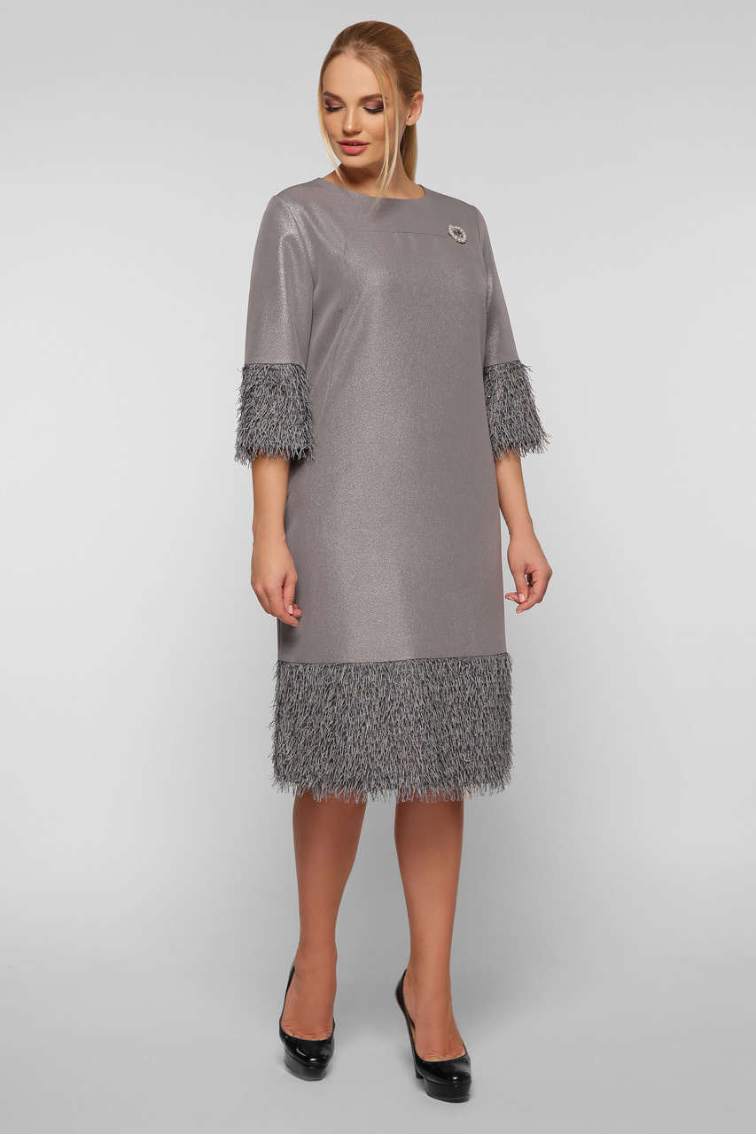 Нарядное платье Тереза  серебро