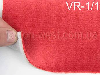 Автовелюр для сидений цвет светло-красный (с переливом), на поролоне 4 мм и сетке, 1,40м.