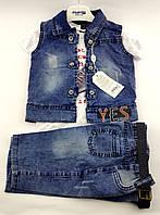 Детские костюмы 2, 3, 4 года Турция джинсовый летний для мальчиков синий (КД12)
