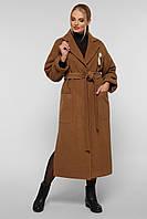 Пальто женское  свободного стиля Алеся горчица 2