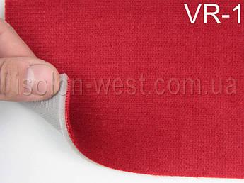 Автовелюр для сидений цвет красный (с переливом), на поролоне 3 мм и сетке, 1,40м.