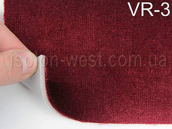 Автовелюр для сидений цвет бордовый (с переливом), на поролоне 4 мм и сетке, 1,40м.