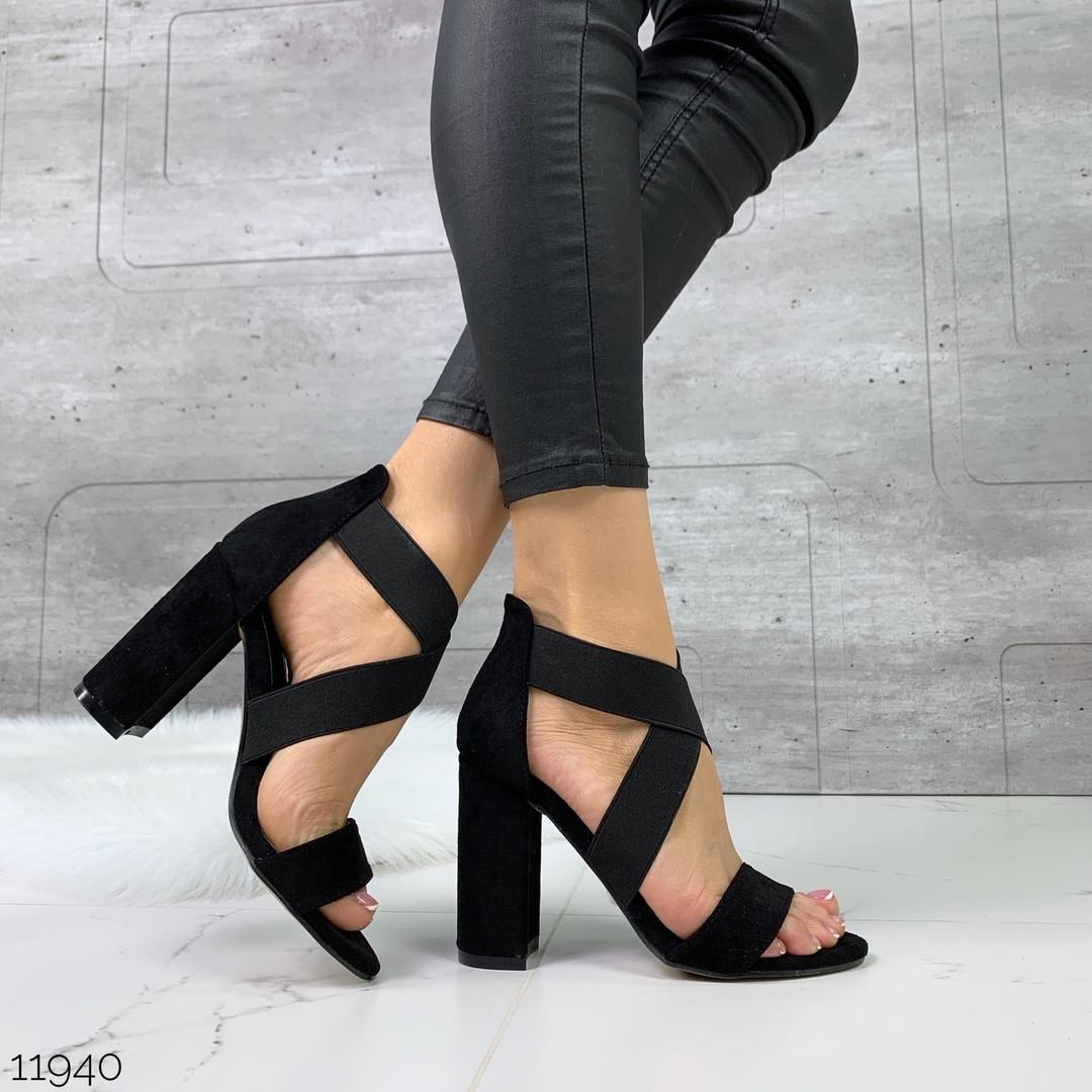 Женские замшевые босоножки на каблуке, ОВ 11940