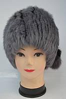 Женская меховая шапка-кубанка серого окраса с помпонами