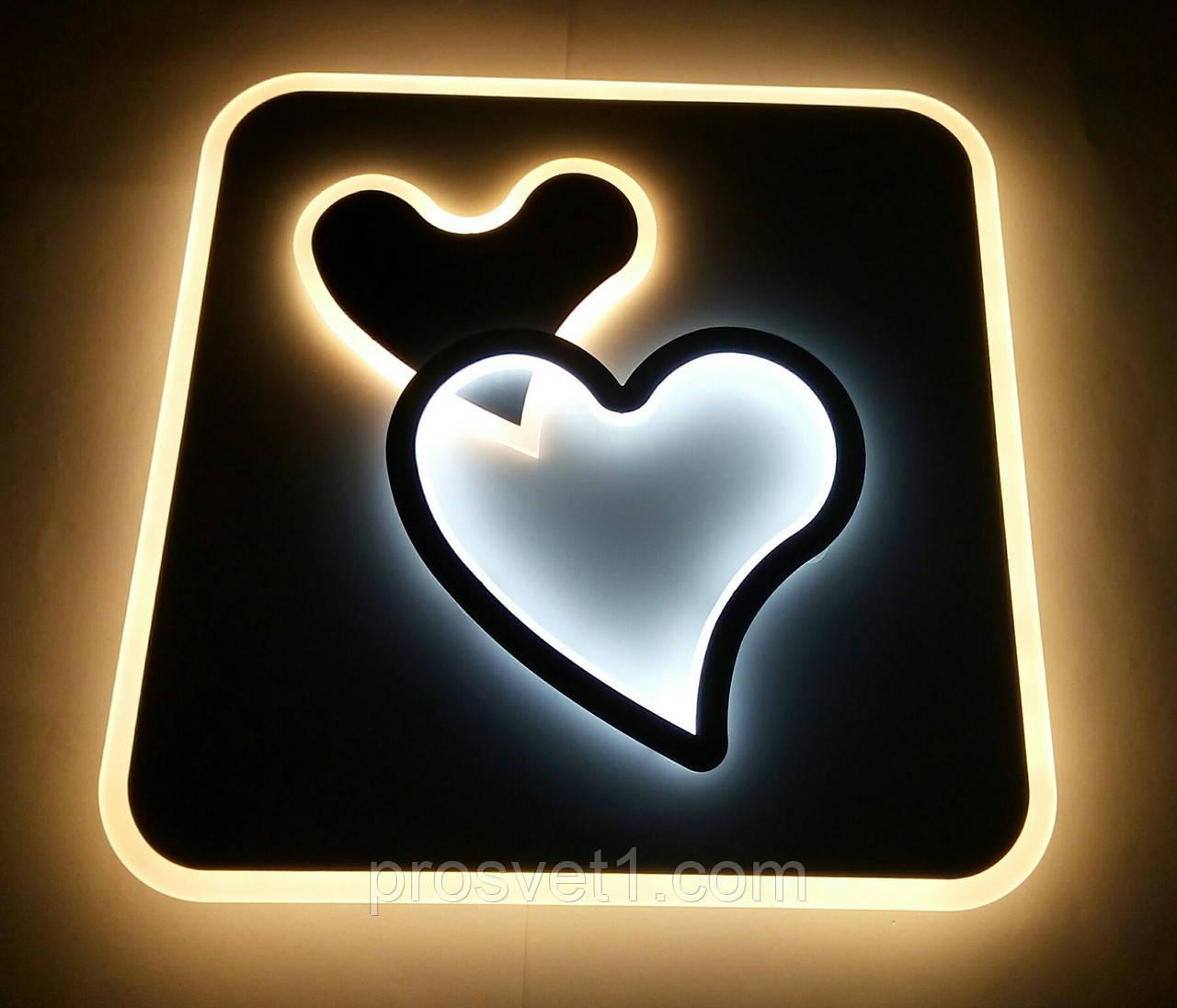 Светодиодная детская люстра сердца квадратная 6008-7 WT+GRY 120W