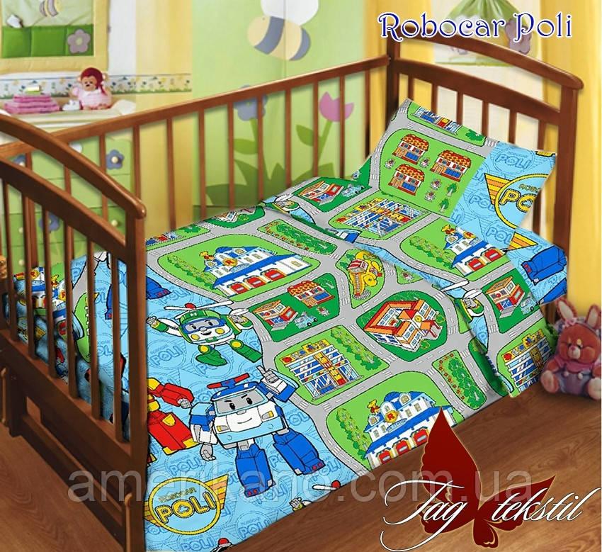 Детский комплект в кроватку с простынью на резинке.  Постельное белье хлопковое. Робокар Поли.