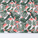Клапоть тканини з дрібним листям пальм і квітами стреліції коралового кольору № 2663, розмір 42*80 см, фото 2
