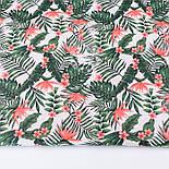 Лоскут ткани с мелкими листьями пальм и цветами стрелиции кораллового цвета № 2663, размер 42*80 см, фото 2