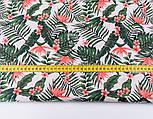 Лоскут ткани с мелкими листьями пальм и цветами стрелиции кораллового цвета № 2663, размер 42*80 см, фото 3