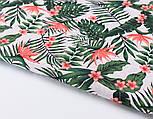 Лоскут ткани с мелкими листьями пальм и цветами стрелиции кораллового цвета № 2663, размер 42*80 см, фото 5