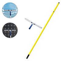 Швабра для мытья окон с телескопической рукояткой 3 м и стальным прорезиненным сгоном для воды 45 см