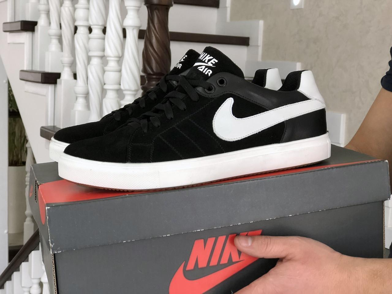 Мужские замшевые кроссовки Nike,черно белые