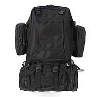 Тактический Штурмовой Военный Рюкзак с подсумками на 50-60литров черный TacticBag, фото 2