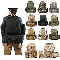 Тактический Штурмовой Военный Рюкзак с подсумками на 50-60литров черный TacticBag, фото 3