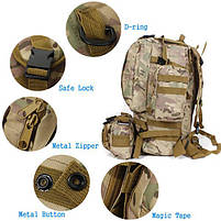 Тактический Штурмовой Военный Рюкзак с подсумками на 50-60литров черный TacticBag, фото 4