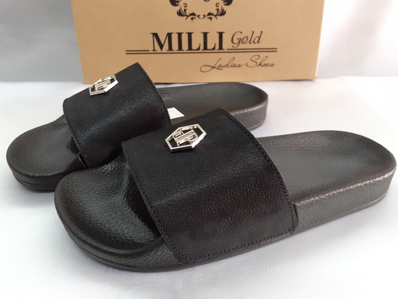 Стильные кожаные шлёпанцы сатин чёрный Milli Gold