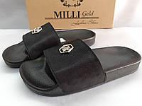Стильные кожаные шлёпанцы сатин чёрный Milli Gold, фото 1