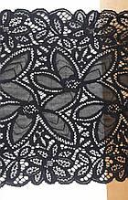 """Кружево стрейчевое ажурное """"флоренс"""", ширина 22см, цвет черный (Италия)"""