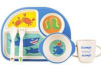 """Посуда детская бамбук """"Подводный мир"""" 5пр/наб (2тарелки, вилка, ложка, чашка)"""