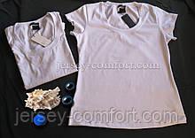Футболка белая женская. Белая футболка трикотажная, хлопок трикотаж