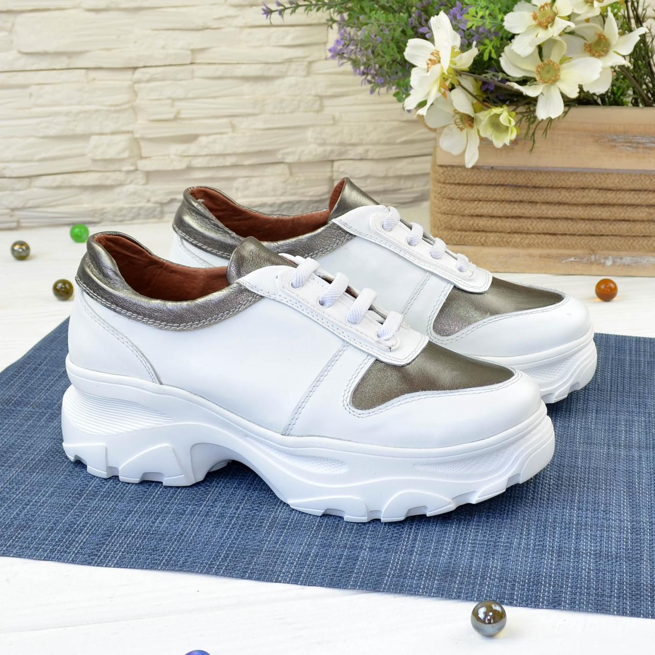 Кроссовки женские на шнуровке, цвет белый/бронза