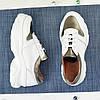 Кроссовки женские на шнуровке, цвет белый/бронза, фото 2