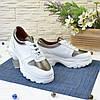 Кроссовки женские на шнуровке, цвет белый/бронза, фото 3