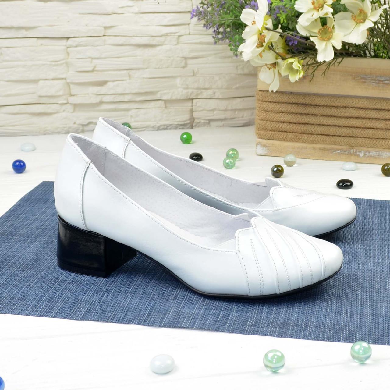 Туфли женские кожаные на невысоком каблуке, цвет белый