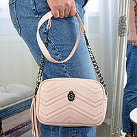 Женская сумка из натуральной кожи цвета пудра. Производство Украина