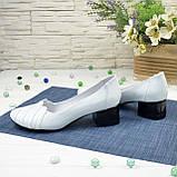 Туфли женские кожаные на невысоком каблуке, цвет белый, фото 3