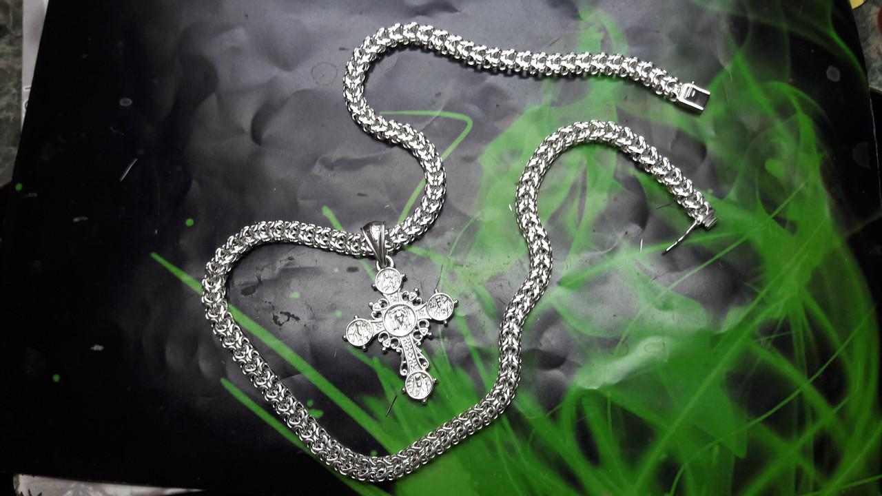Серебряная цепочка Рамзес с крестом