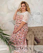 Романтичное платье батал с кружевом, размер от 56-58, 60-62, фото 2