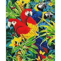 Алмазная живопись мозаика по номерам на холсте 40*50см BrushMe GJ567 Яркие попугаи Ара