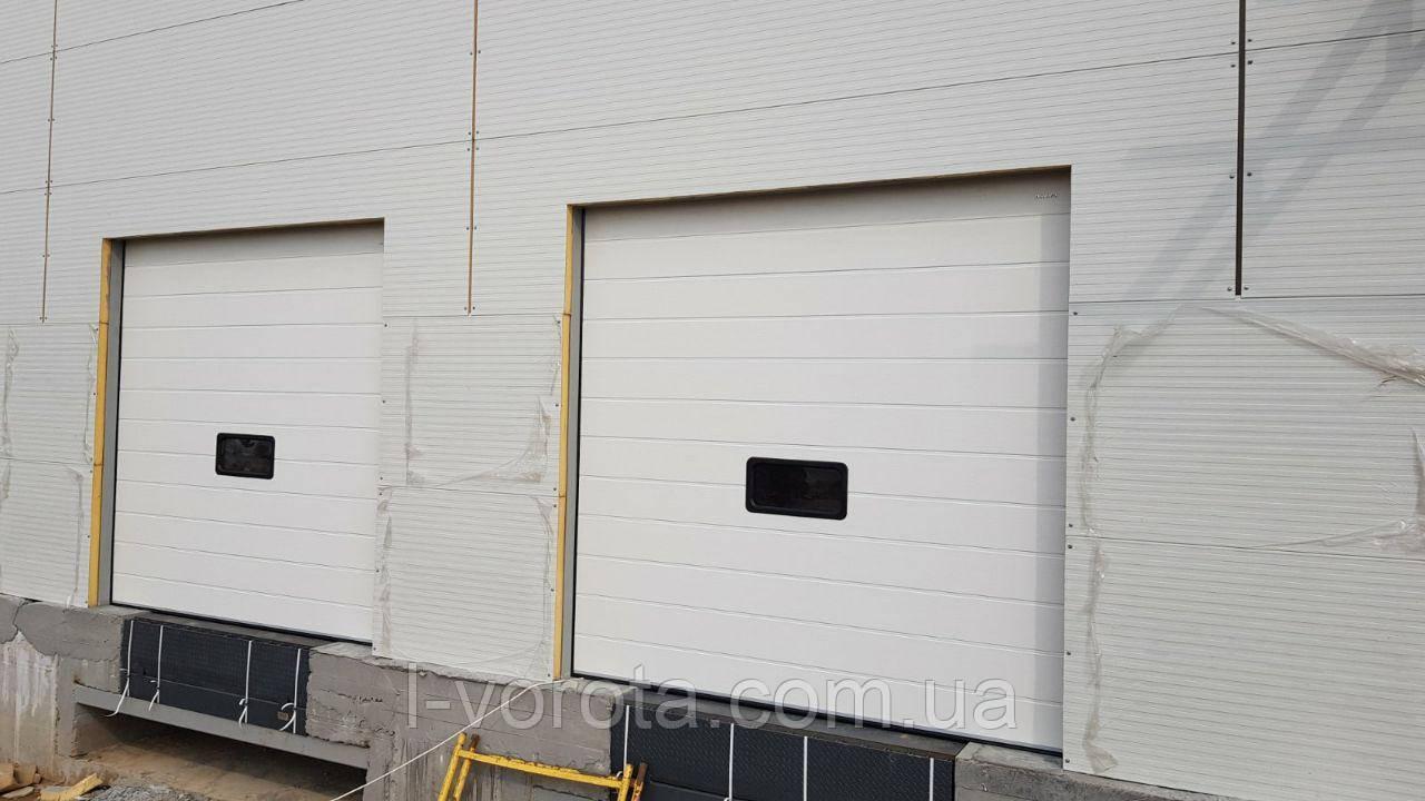 Секционные ворота с окном для склада DoorHan ш3000мм, в3000мм (цвет белый, вертикальный подьем)