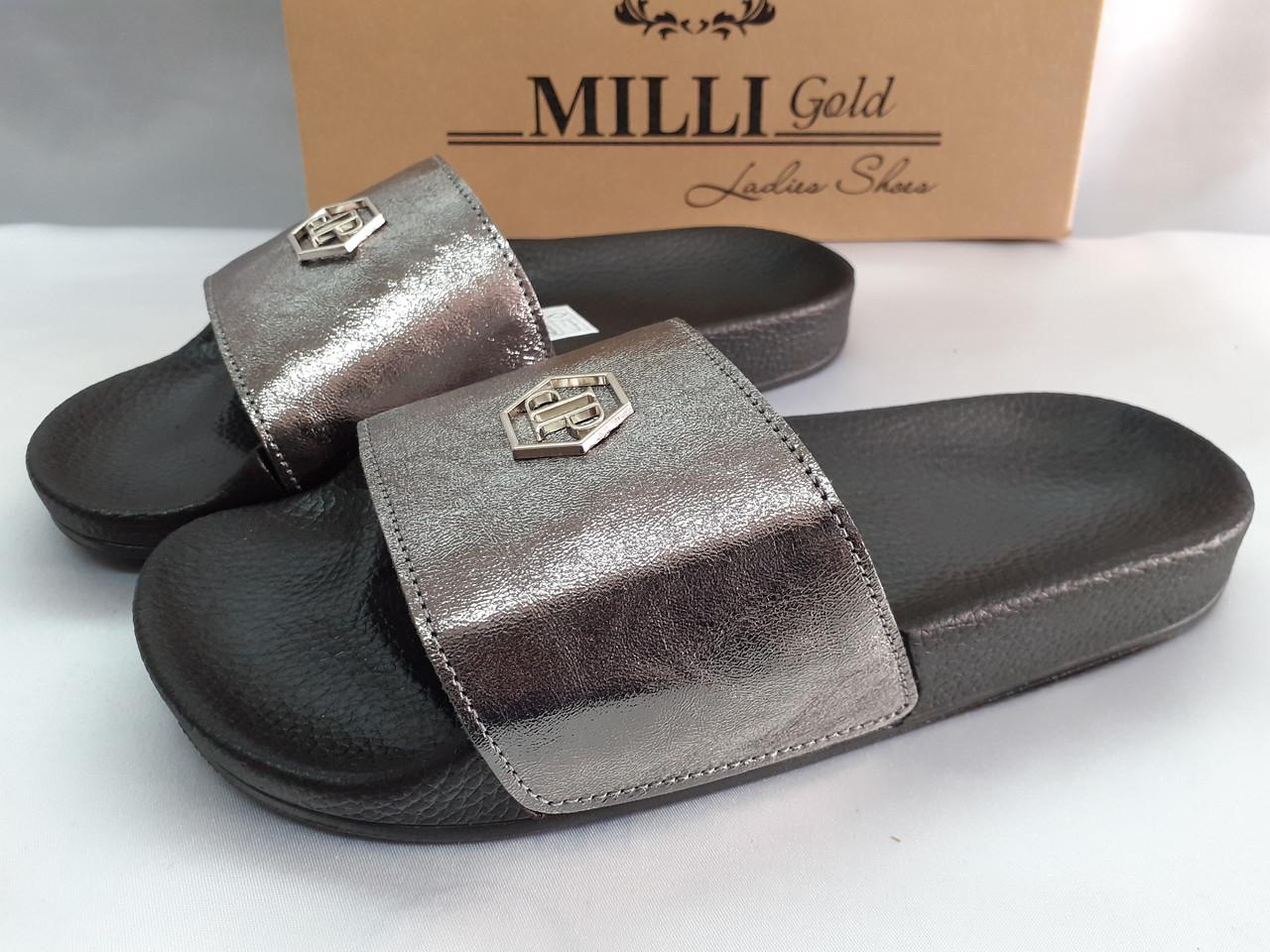 Стильные кожаные шлёпанцы серебро Milli Gold