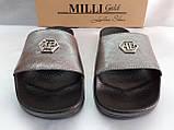 Стильные кожаные шлёпанцы серебро Milli Gold, фото 6