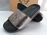 Стильные кожаные шлёпанцы серебро Milli Gold, фото 4