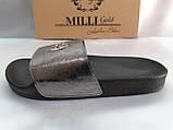 Стильные кожаные шлёпанцы серебро Milli Gold, фото 7