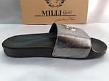 Стильные кожаные шлёпанцы серебро Milli Gold, фото 3