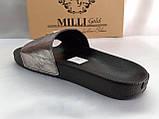 Стильные кожаные шлёпанцы серебро Milli Gold, фото 9