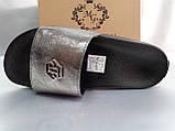 Стильные кожаные шлёпанцы серебро Milli Gold, фото 2