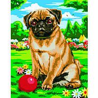 Картина раскраска по номерам на холсте - 40*50см с элементами мозаики BrushMe GZS1057 Игра с собакой