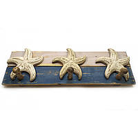 Вешалка настенная деревянная в морском стиле Морская звезда