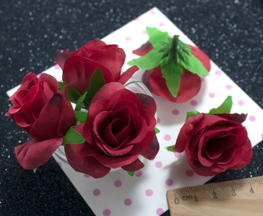 "(10шт) Головы цветов ""Роза"" Ø35-40мм Цвет - Красный"
