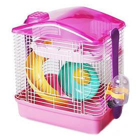 Клетка для хомяка AnimAll P-679, 28.5×19.5×27 см, розовая