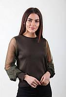 Молодежная женская кофточка с рукавом в сеточку и гипюром