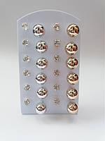 Сережки гвоздики золото/серебро с камушками