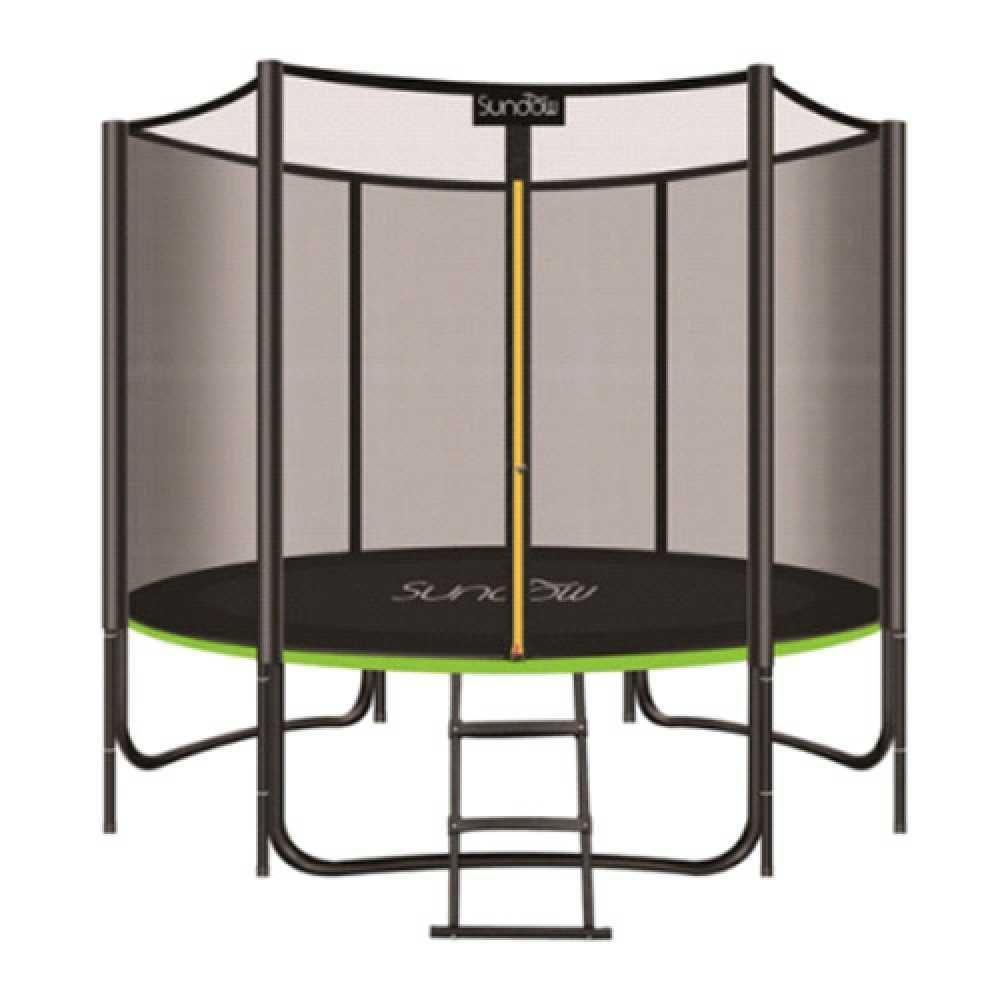 Батут с защитной сеткой и лестницей Profi MS 2920-2 Black / Green, диаметр 244 см