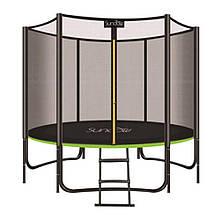 Батут із захисною сіткою і сходами Profi MS 2920-2 Black / Green, діаметр 244 см