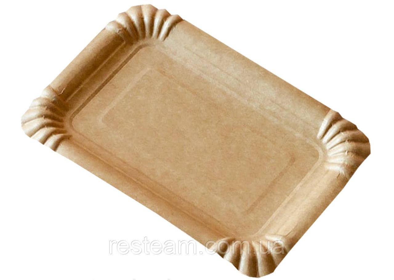 Тарілка паперова прямоуг. 15,5*21,5 см крафт 50шт/уп PRO
